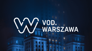 logo of VOD channel with Palace of Culture and Science in the background
