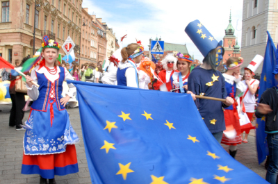 EU flag carried by the participants of the march