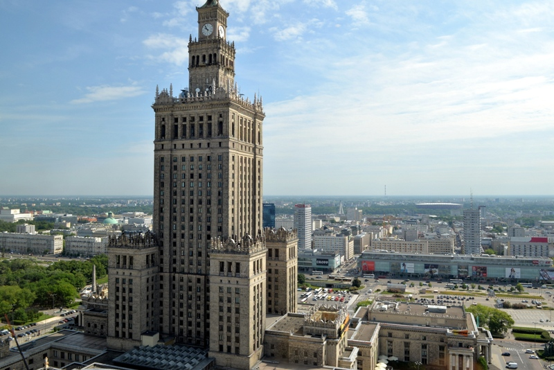 Panoramic view of Warsaw, Palace of Culture and Science