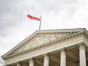Belarusian flag on the Warsaw City Hall
