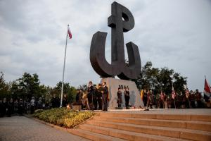 A ceremony on the Warsaw Uprising Mound – the lighting of the Fire of Remembrance