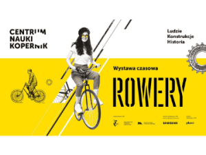 black and yellow poster of Bicycles exhibition at the Copernicus Science Centre